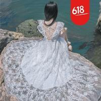 原创夏季新品白色一字领露肩仙女蕾丝连衣裙波西米亚海边度假沙滩长裙GH04 白色