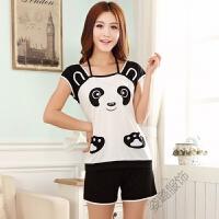夏季新女士短袖短裤睡衣可爱熊薄款三分裤学生棉质黑白家居服套装 黑白熊猫套装