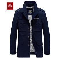 战地吉普秋冬新款男士中长款夹克外套 立领修身大码夹克外套