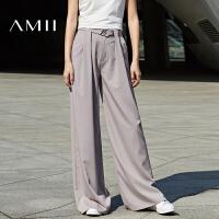 Amii春秋新款时尚百搭女王范宽松显高显瘦阔腿裤女长裤
