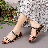凉鞋 女士学生珍珠坡跟两穿罗马鞋2020夏季新款韩版时尚女式休闲百搭沙滩鞋女鞋拖鞋