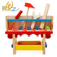 木丸子益智儿童木制工具台拼拆装螺母组合早教玩具