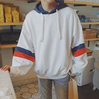 2017冬季套头连帽卫衣男潮流韩版宽松拼接上衣青少年时尚百搭外套