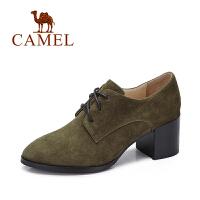 Camel/骆驼女鞋秋冬季新品英伦风单鞋系带高跟鞋复古粗跟鞋