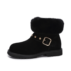Camel/骆驼女鞋 秋冬新品 时尚舒适铆钉獭兔毛保暖低跟毛靴