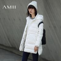 【满200减100 上不封顶】AMII女冬装新新连帽插袋开衩大码羽绒服11633600