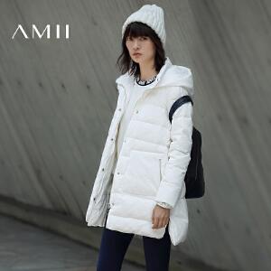 AMII女冬装新新连帽插袋开衩大码羽绒服11633600