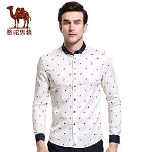 骆驼&熊猫联名系列男装衬衣 时尚青年撞色领圆点修身长袖衬衫男