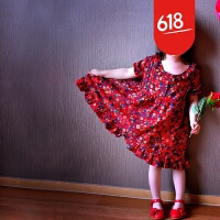 原创2018夏装女童中大童民族风复古甜美碎花棉麻娃娃款公主连衣裙子GH029