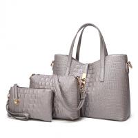 手提包女款手拎包子母包2018新品时尚压花手提包简约三件套单肩斜挎大包
