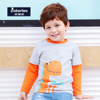 【99元2件】托马斯童装男童秋装长袖纯棉T恤卡通印花休闲打底衫上衣托马斯和朋友三色选