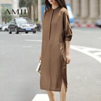 Amii[极简主义]秋装新款中长裙显瘦大码A字长袖宽松打底连衣裙.
