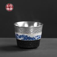 银杯子999银内胆主人杯单杯大号个性手工陶瓷单个功夫小茶杯