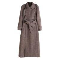 人字纹双面羊绒大衣女中长款2018新款修身韩版高端秋冬毛呢外套