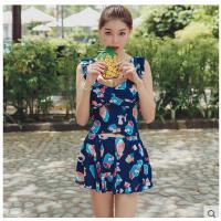 连体游泳衣女钢托遮肚显瘦韩国温泉泳装小胸聚拢性感裙式平角印花 可礼品卡支付