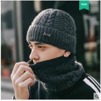 粗线套头帽纯色毛线帽子男士骑车防风护耳加绒保暖针织帽韩版潮时尚百搭