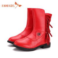 【1件2折后:35.8元】红蜻蜓冬靴时尚流苏低跟舒适拼接百搭女童高筒可爱儿童高筒雪地靴