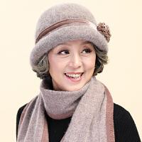 中老年人秋冬天老人帽子女士冬季奶奶保暖中年妈妈帽围巾