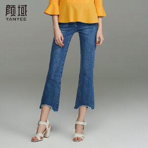 颜域品牌女装2018春夏新款时尚修身九分微喇弹性蓝色不规则牛仔裤
