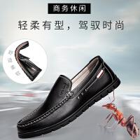 奥康春季新款休闲皮鞋软底舒适真皮套脚豆豆鞋新韩版潮流软底懒人鞋