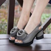 原创民族风春秋女鞋罗马复古花朵鱼嘴鞋 高跟鞋 真皮宽松粗跟优雅凉鞋GH2 灰色 现货库存 一体跟-脚感舒适