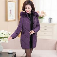 中老年羽绒中长款40-50岁妈妈冬装加厚外套连帽时尚大码棉衣