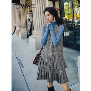 七格格背带裙子女韩版新款格子百褶裙时尚宽松冬季打底连衣裙