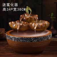 陶瓷流水摆件陶瓷荷叶客厅桌面喷泉加湿器招财鱼缸家居水景装饰品