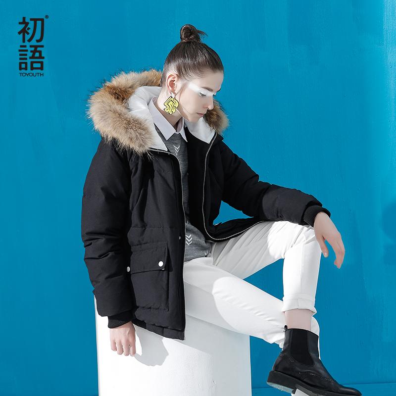 初语加厚宽松时尚羽绒服女2018秋冬新款轻薄短款侧身拉链外套