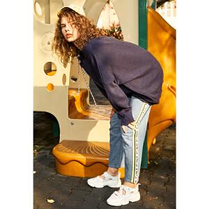 两三事角色转移2018秋装新品字母织带拼接直筒高腰牛仔裤女九分裤S18QKN003