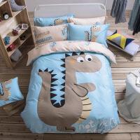 【人气】纯棉卡通床上用品四件套床笠全棉男孩儿童床单人被套三4件套3女孩
