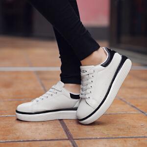 【满100减20,满200减50】奇安达2017夏季新款女士白黑韩版系带休闲小白鞋百搭高底板鞋