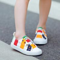 儿童帆布鞋男童女童鞋炫彩休闲鞋拼色板鞋