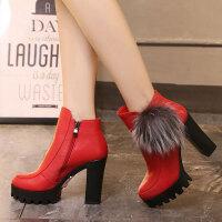 娜箐箐冬新款欧美牛皮兔毛超高跟马丁靴粗跟真皮防水台短靴女