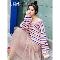 彩色条纹V领针织衫女士2018秋季新款宽松时尚套头长袖上衣毛衣潮