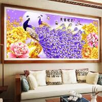 客厅新款圆钻大幅古典花开富贵满钻画十字绣孔雀牡丹图贴砖钻石画