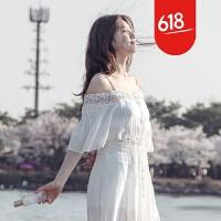 原创海滩裙沙滩裙海边度假长款波西米亚长裙白色一字领露肩吊带连衣裙GH032 白色【送透明肩带】
