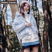 美特斯邦威羽绒服女士冬装短款宽松bf风显瘦外套韩版面包服学生
