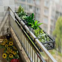 不锈钢花架子阳台烤漆花架挂式铁艺花架护栏窗台多肉栏杆花盆多层 1