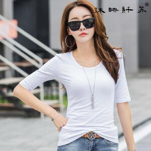 夏装新品韩版白色t恤女半袖圆领纯色修身棉质打底衫中袖体恤女