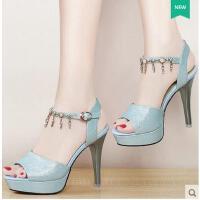 盾狐鱼嘴鞋女新款夏季细跟性感百搭韩版防水台高跟鞋一字带凉鞋子520-8