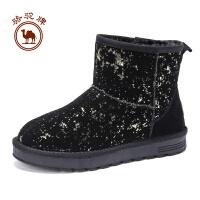 骆驼牌女靴子 冬季时尚舒适套脚雪地靴保暖休闲鞋女鞋