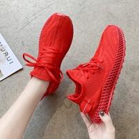 骚红色鞋女夏季单层网布大童针织运动透气鞋黄色初高中学生鞋