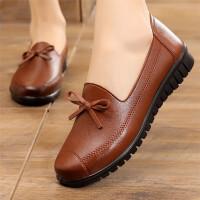 妈妈鞋软底舒适单鞋春秋季中老年人女鞋奶奶平底中年老人皮鞋