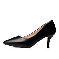 【软皮无痛工作鞋】黑色高跟鞋职业单鞋面试正装皮鞋中跟女鞋春秋