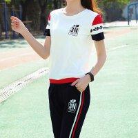 休闲运动服套装女夏季2019学生韩版七分裤两件套短袖时尚宽松