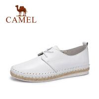 camel/骆驼女鞋 春季新款 纯色简约系带平底鞋 编织渔夫春鞋