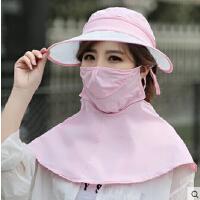 帽子女夏天遮阳帽户外骑车防晒帽防紫外线遮脸电动车可折叠太阳帽