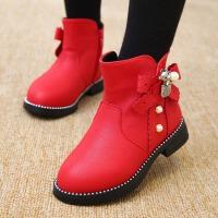 女童靴子儿童短靴2017秋冬新款童鞋韩版中筒马丁靴公主女孩时装靴