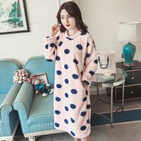 珊瑚绒睡衣女冬季韩版清新学生甜美可爱加厚法兰绒睡裙家居服套装 波点裙绒